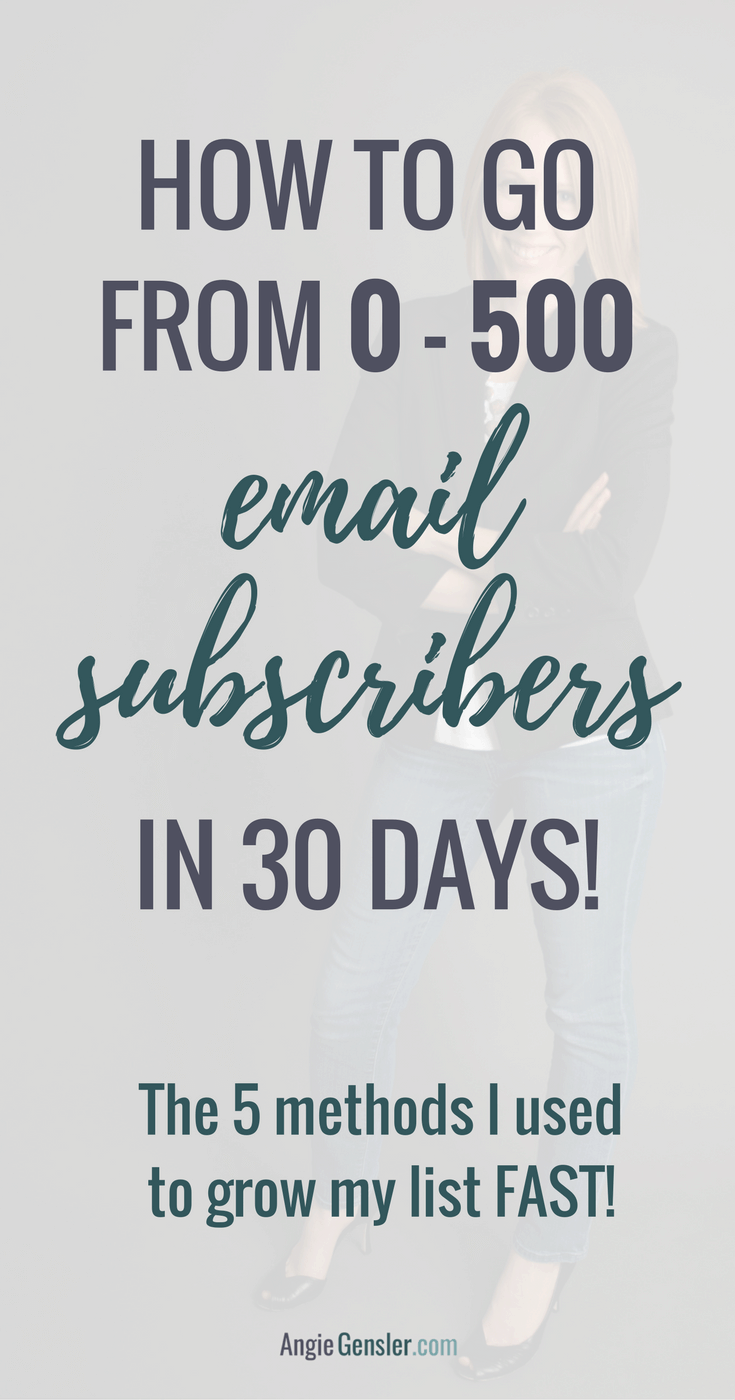 How to grow your email subscribers from 0 - 500 in 30 days! Learn the 5 methods I used to grow my email list fast!