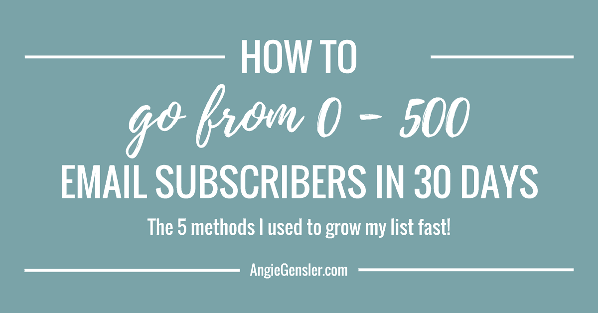 How To Go From 0 – 500 Email Subscribers in 30 Days!