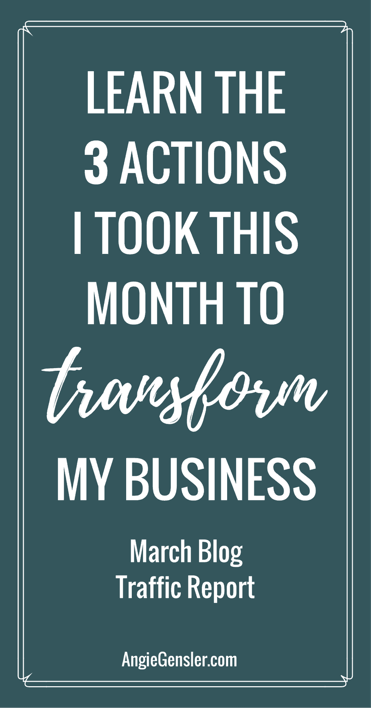 Learn the 3 major actions I took that transformed me from a hot mess in February to confident and productive in March. I'm sharing all the details in my Blog Traffic Report.