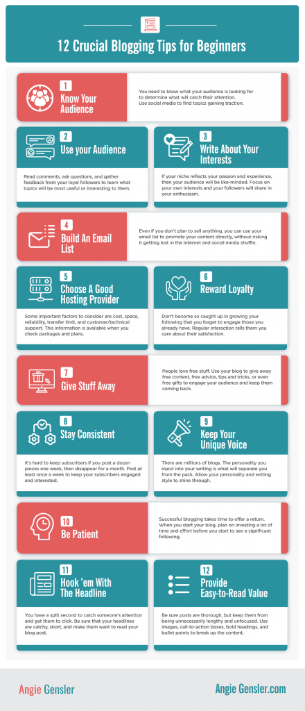 12 blogging tips infographic