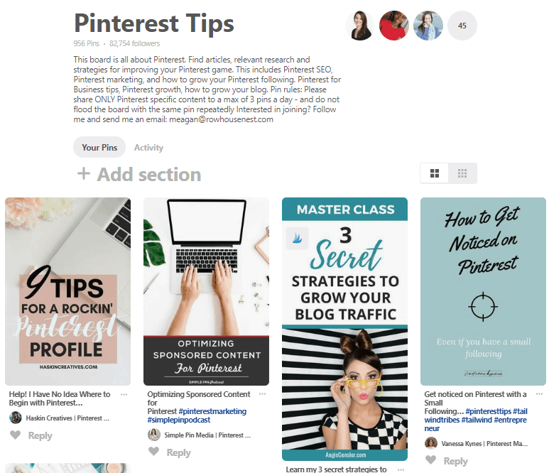 Pinterest Group Board Example