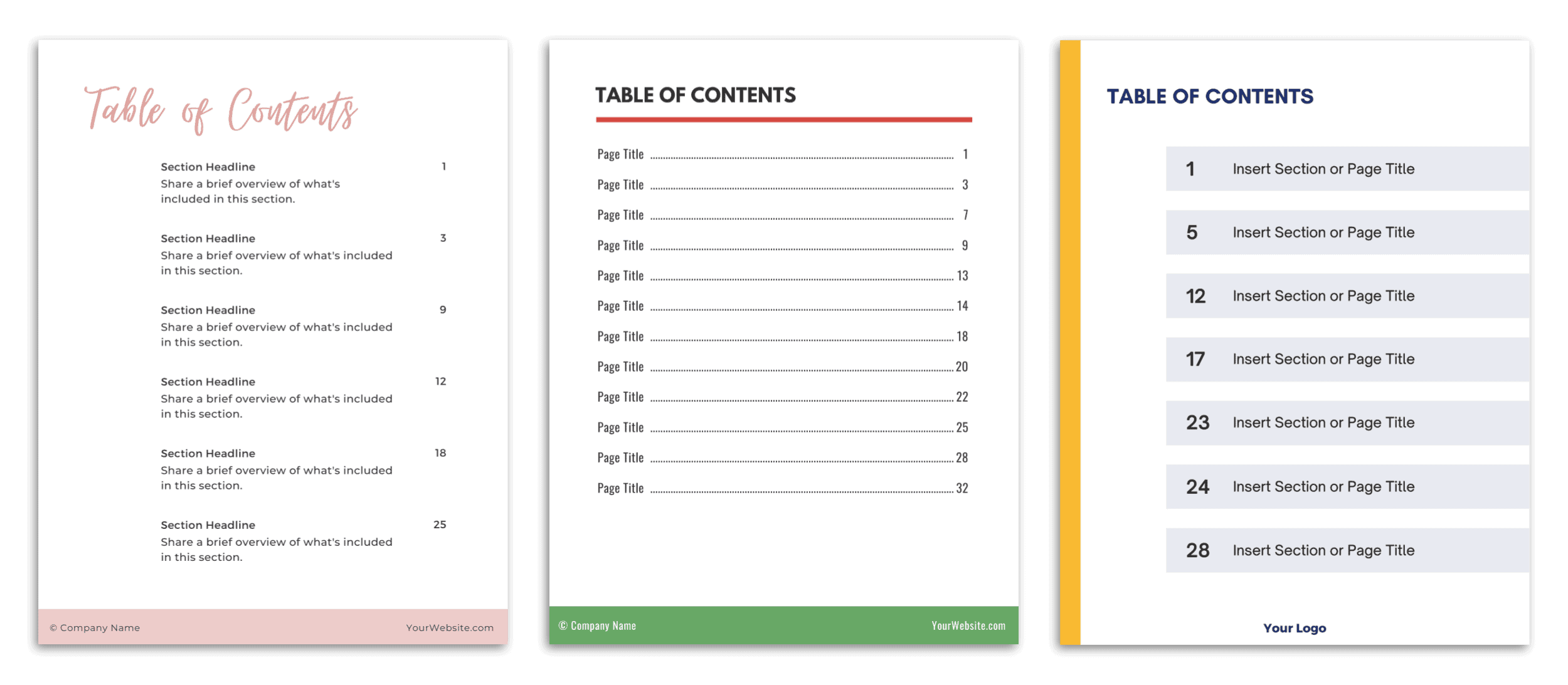 Email Opt In Template Table Of Contents